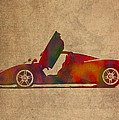 Ferrari Enzo 2004 Classic Car Watercolor On Worn Distressed Canvas by Design Turnpike