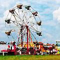 Ferris Wheel Against Blue Sky by Susan Savad