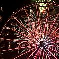 Ferris Wheel And Fireworks by Jim Corwin