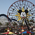 Ferris Wheel And Roller Coaster - Paradise Pier - Disney California Adventure - Anaheim California - by Wingsdomain Art and Photography