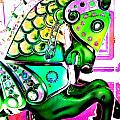 Festive Green Carnival Horse by Patty Vicknair