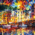 Few Boats - Palette Knife Oil Painting On Canvas By Leonid Afremov by Leonid Afremov