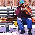 Fiddling Around In The Cold  by John Malone Halifax digital artist