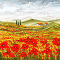 Field Of Dreams - Poppy Field Paintings by Lourry Legarde
