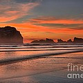 Fiery Ripples In The Surf by Adam Jewell