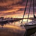 Fiery Sunset At Stuart Marina by Fran Gallogly