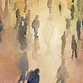 Figures Grand Central Station Watercolor Painting Of Nyc by Beverly Brown
