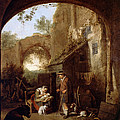Figures In The Courtyard Of An Old Building by Cornelis Dusart