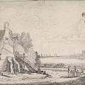 Figures On A Path Along A Dilapidated House On A River by Jan Van De Velde (ii)