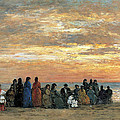 Figures On The Beach In Trouville by Eugene Boudin