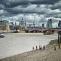 Film Crew On The Thames - London Back-drop by Kim Andelkovic