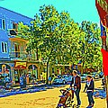 Fine Day For Baby Strollers And Bikes Art Of Montreal Street Scene Across Maitre Gourmet Cafe by Carole Spandau