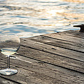Finger Lakes Wine Tasting - Wine Glass On The Dock by Photographic Arts And Design Studio