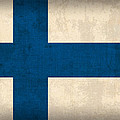 Finland Flag Vintage Distressed Finish by Design Turnpike