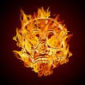 Fire Burning Flaming Skull by Jit Lim