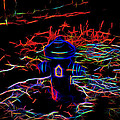 Fire Hydrant Bathed In Neon by Cathy Anderson