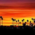 Fire Sunset In Long Beach by Mariola Bitner