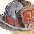 Firefighter Helmet With Melted Visor by Ken Powers