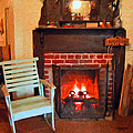 The Family Hearth - Fireplace Old Rocking Chair by Rebecca Korpita