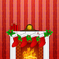 Fireplace Christmas Decoration Wth Stockings And Wallpaper by Jit Lim