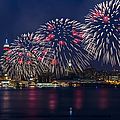 Fireworks And Full Moon Over New York City by Susan Candelario