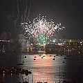 Fireworks At Night For The 4th Of July Over Fort Walton Beach From 14th Floor Balcony by Jeff at JSJ Photography