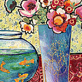 Fish Bowl And Posies by Diane Fine