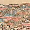 Fish Market By River In Edo At Nihonbashi Bridge  by Hokusai