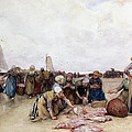 Fish Sale On The Beach  by Bernardus Johannes Blommers