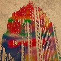 Fisher Building Iconic Buildings of Detroit Watercolor on Worn Canvas Series Number 4 by Design Turnpike