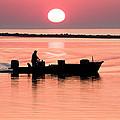 Fisherman At Sunrise Apalachicola Bay Florida  by Bill Swindaman