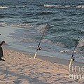 Fisherman At The Beach by Michelle Powell