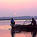 Fisherman On The Ganges River At Varanasi by Amanda Stadther