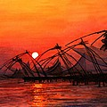Fisherman Sunset In Kerala-india by Vidyut Singhal