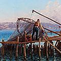 Fishermen Bringing In The Catch by Fausto Zonaro