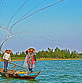 Fishermen Casting A Broad Net On Thu Bon River In Hoi An-vietnam by Ruth Hager