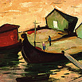 Fishing Barges On The River Sugovica by Emil Parrag