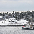 Fishing Boat After Snowstorm In Port Clyde Harbor Maine by Keith Webber Jr
