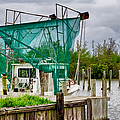 Fishing Boat And Pelicans On Posts by Kathleen K Parker