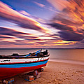 Fishing Boat On A Beach At Sunset / Hammamet by Barry O Carroll