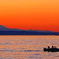 Fishermen At Sunset Puget Sound Washington by Jennie Marie Schell