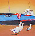 Fishing Boat Walberswick With Geese by Charles Stuart