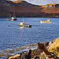 Fishing Boats At Anchor In A Quiet Bay On The Isle Of Skye In Sc by Mark Llewellyn