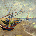 Fishing Boats On The Beach At Les Sainte-maries-de-la-mer by Mountain Dreams