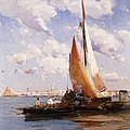 Fishing Craft With The Rivere Degli Schiavoni Venice by E Aubrey Hunt