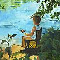 Fishing Off The Dock by Gloria Condon