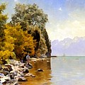 Fishing On Lac Leman by Peder Mork Monsted