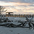 Fishing Pier And Driftwood by Christiane Schulze Art And Photography