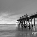 Fishing Pier Sunrise Bw 16x9 by Michael Ver Sprill