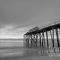 Fishing Pier Sunrise Bw by Michael Ver Sprill